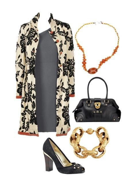 сив dress with coat and accessories