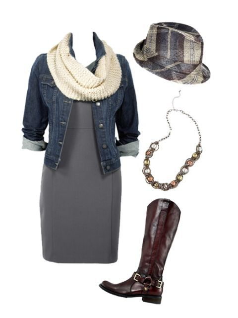 сив dress and denim jacket with accessories