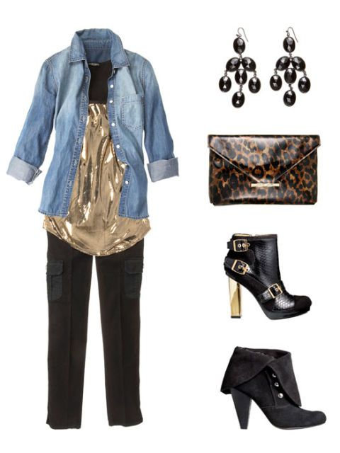 traper shirt outfit with earrings purse and shoes