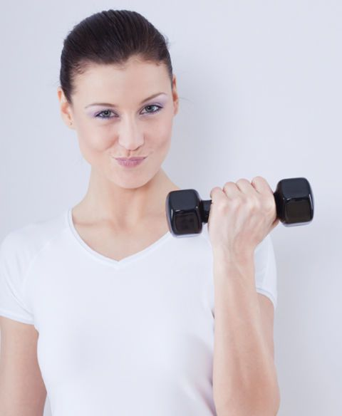 žena, weight, dumbbell, working out