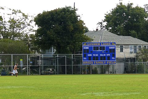 Brees sign on lusher school field