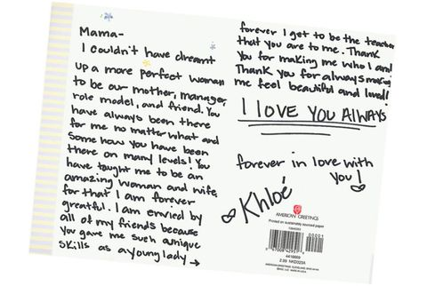 khloe kardashian mothers day card