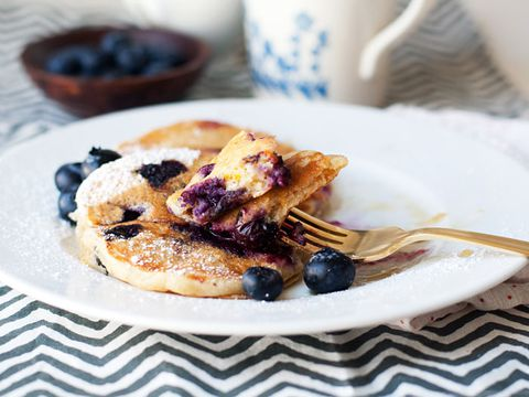 beerberry pancakes on plate with fork