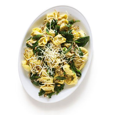 Tortellini with pine nut brown butter sauce